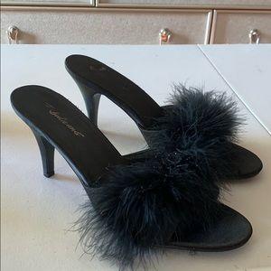 "Furry Black Heels 3"""